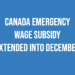 Canada Emergency Wage Subsidy extended into December!